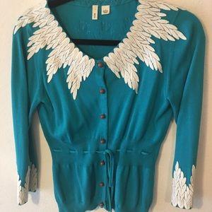 Anthropologie MOTH brand cardigan sweater teal